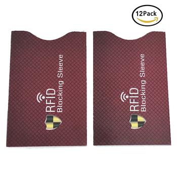 12 sztuk RFID blokowanie rękawy z zabezpieczeniem przeciw kradzieży RFID etui ochronne na karty RFID blokowanie rękaw dla mężczyzn kobiet tożsamość ochrona przed kradzieżą tanie i dobre opinie Dwóch kart sim akcesoria garnitur RFID Blocking Sleeves 58*88mm 2 28*2 54inch 12pcs per Package