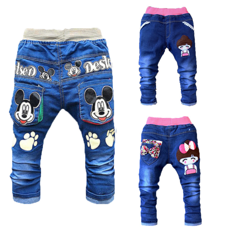 Spring Autnmn Children Pants Boys Cute Cartoon Embroidered Jeans Trousers Outfits Kids Leisure Trousers Boys Girls Clothing