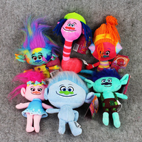 6pcs/set 25cm Trolls Plush Toys Poppy Branch Stuffed Cartoon Dolls The Trolls Christmas Gifts