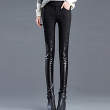 HYGYXX Queen style HI-Q Lace Skinny Leather pants Women Autumn Winter leggings