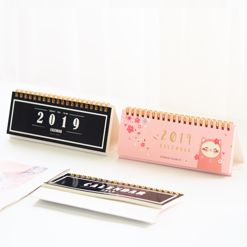 Adroit 2019 Lovely Sakura Black And White Series Calendar Diy Desktop Calendar Agenda Organizer Daily Schedule Planner 2018.09~2019.12 Selected Material Calendar