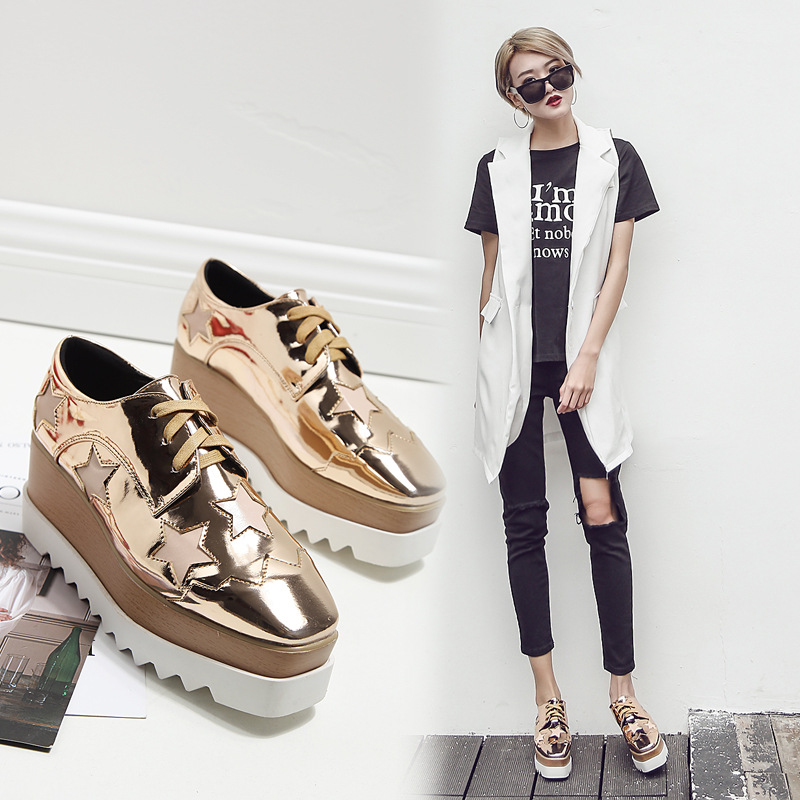 Womens Pull On Shiny Pointy Toes Creepers Oxfords Loafers Casual Shoes Platform