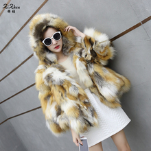 Winter Short Real Fox Fur Coats Women Elegant Genuine Natural Raccoon Dog Fur Overcoat Warm Natural Fur Jacket Pockets 160804-2