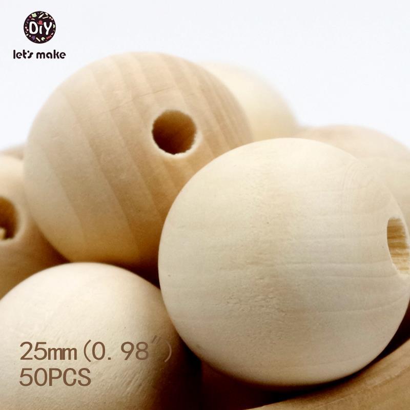 Prix pour Let's Faire 25mm Ronde Naturelle Perles En Bois-unfinished 50 pièces handmake perles en bois livraison gratuite