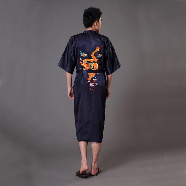 Bordado dragão chinês tradicional preto dos homens Robe de cetim de seda Yukata Kimono Sleepwear banho vestido de pijamas sml XL XXL MR021