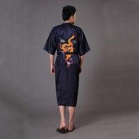 Ricamo drago nero uomo tradizionale cinese robe raso di seta da notte Kimono yukata bath dell'abito pigiama sml xl xxl Mr021