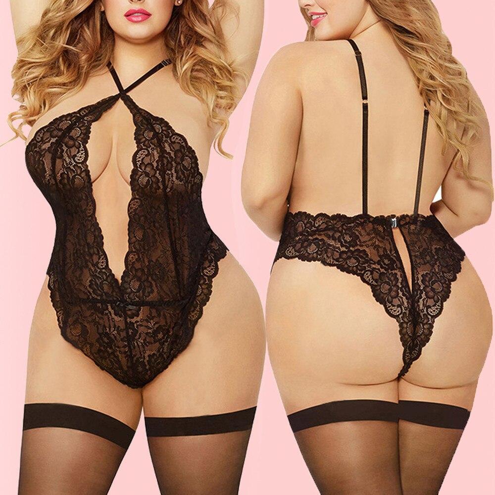 Women Sleepwear Plus Size Bra Lace Lingerie One-Piece Bodydoll Underwear Women Sexy Lingerie Hot Ropa Interior Sexy