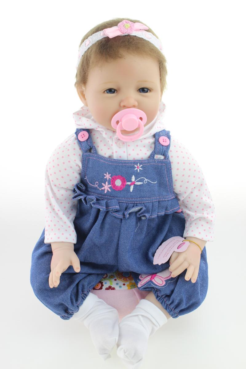 Reborn Baby Doll Stuffed PP Cotton with Very Soft Silicone Vinyl 55cm for Girl Boy Kids