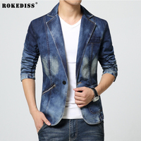 ROKEDISS 2017 Autumn Winter Fashion Denim Jacket Men Jeans Slim Fit Mens Jackets And Coats Casual