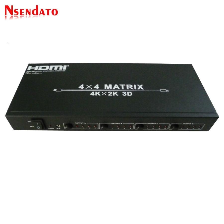 HDMI 4x4 Matrix 4kX2K Switch 4 in 4 out HDMI RS232 Splitter Support 120Hz 3D 60Hz Audio Video HDTV HDMI V1.4 Switcher adapter