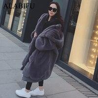 ALABIFU Winter Faux Fur Coat Women 2018 Long Warm Faux Fur Jacket Coat Casual Hoodies Loose Pocket Coat Outwear casaco feminino