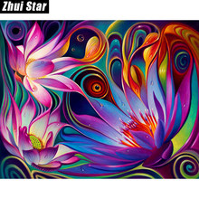 "Zhui Star cuadrado completo diamante 5D DIY diamante pintura ""Flores"" bordado 3D punto de cruz mosaico pintura decoración BK(China)"