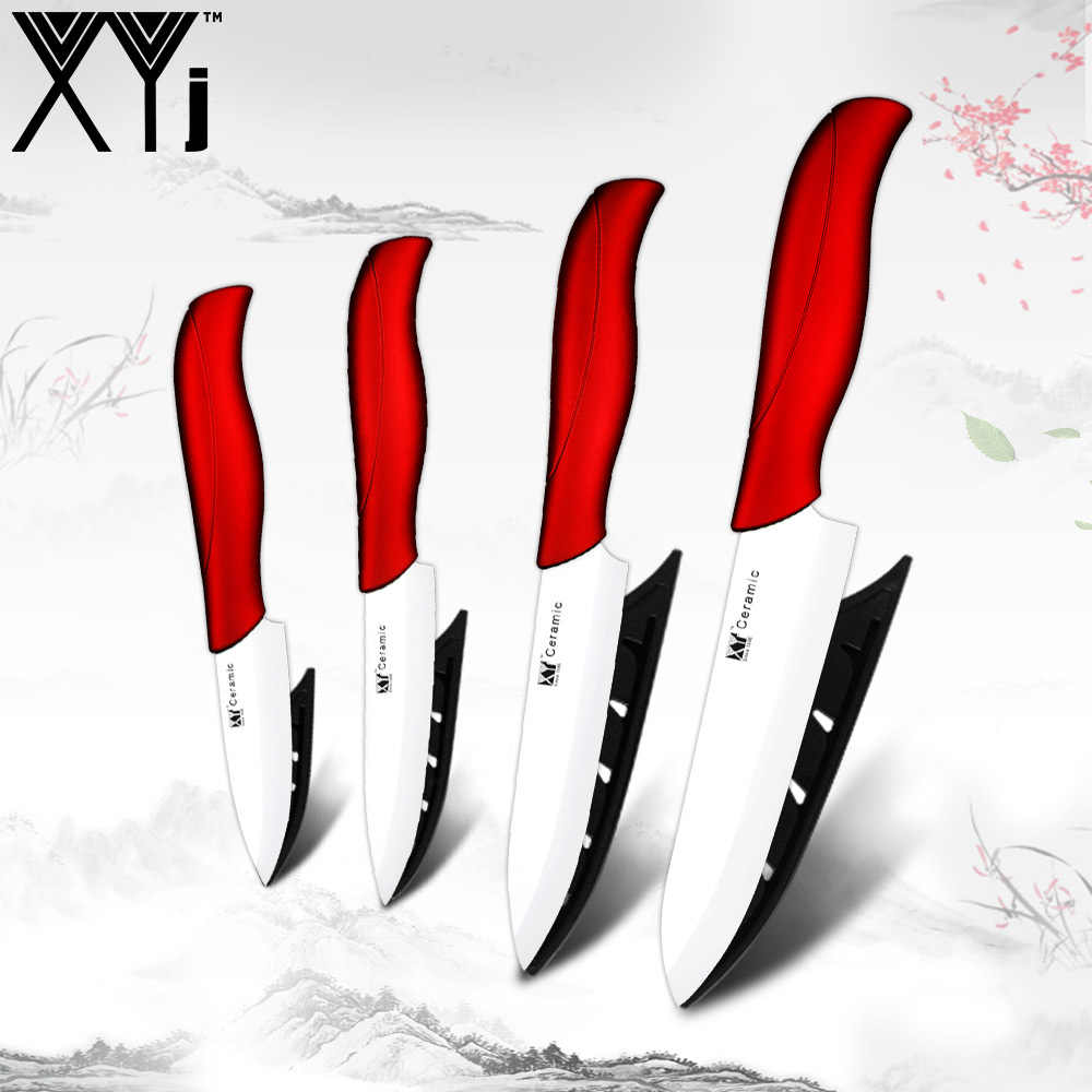 "XYj Ceramic Kitchen Knives Zirconia Ceramic Cleaver Sets 3"" 4"" 5"" 6"" Zirconiun Oxide Paring Fruit Vege Cooking Knife Cutlery"