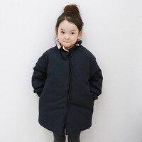 2017 Trẻ Em New bông coat độn Phong Cách Hàn Quốc cô gái Công Chúa trẻ em cho mùa đông tối tăm xanh đơn giản chỉ cần màu trẻ em áo khoác áo