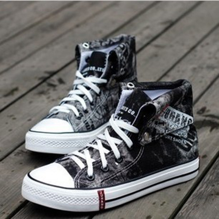 Spring/Summer Men Casual Shoes Breathable Black High-top Sne
