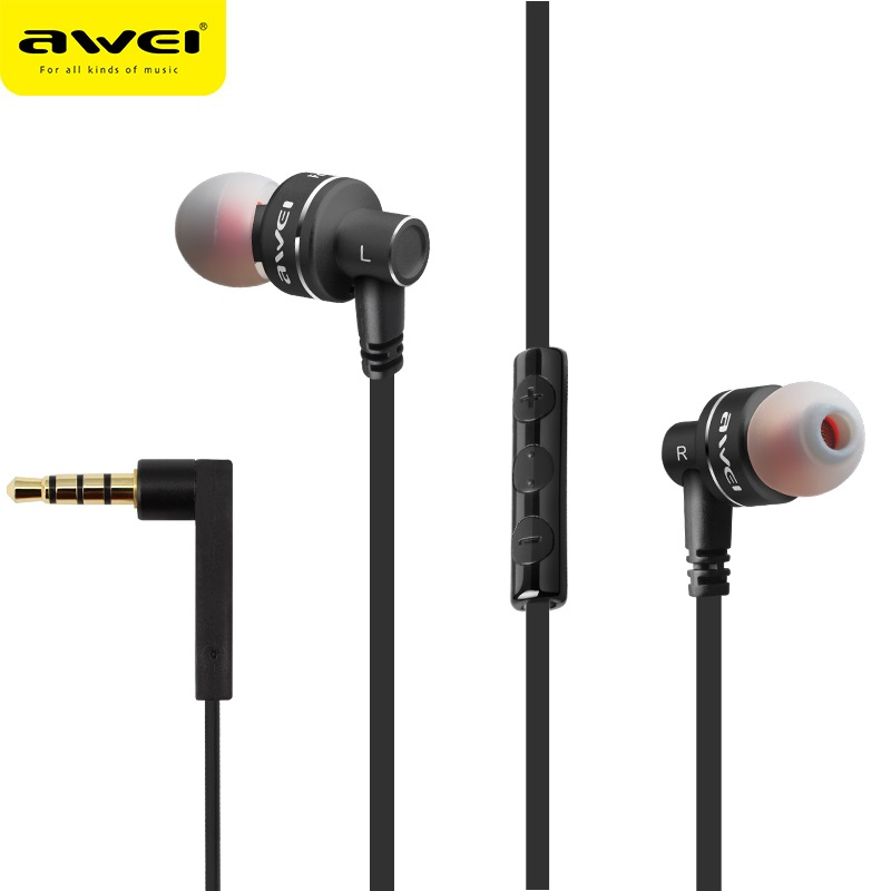 Original Awei ES-10TY Metal Stereo Earphones 3.5mm In-Ear Noise Reduction Earbuds Super Bass HIFI Dynamic Headset With Mic awei es 10ty metal earphone stereo headset in ear noise reduction auriculares headphone with microphone for phone kulakl k