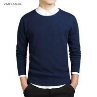 Varsanol Brand Clothing Pullover Mens Sweater Autumn Long Sleeve Slim O Neck Knitted Blue Comfortable Outerwear