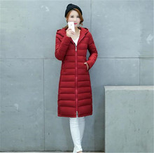 Long Cotton Down Jacket Female Winter 2016New Slim Hooded Women Coat Thicken Women Fashion Korean Large size Padded Jacket G0540