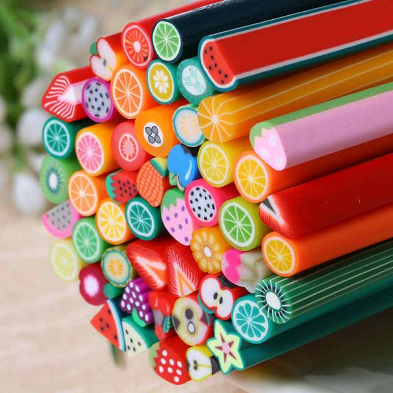 50pcs Fimo Nail Stickers Canes Fruit 3D Nail Art Decoration Polymer Clay Fimo Rods Soft resin Sticks DIY Design Nail Art