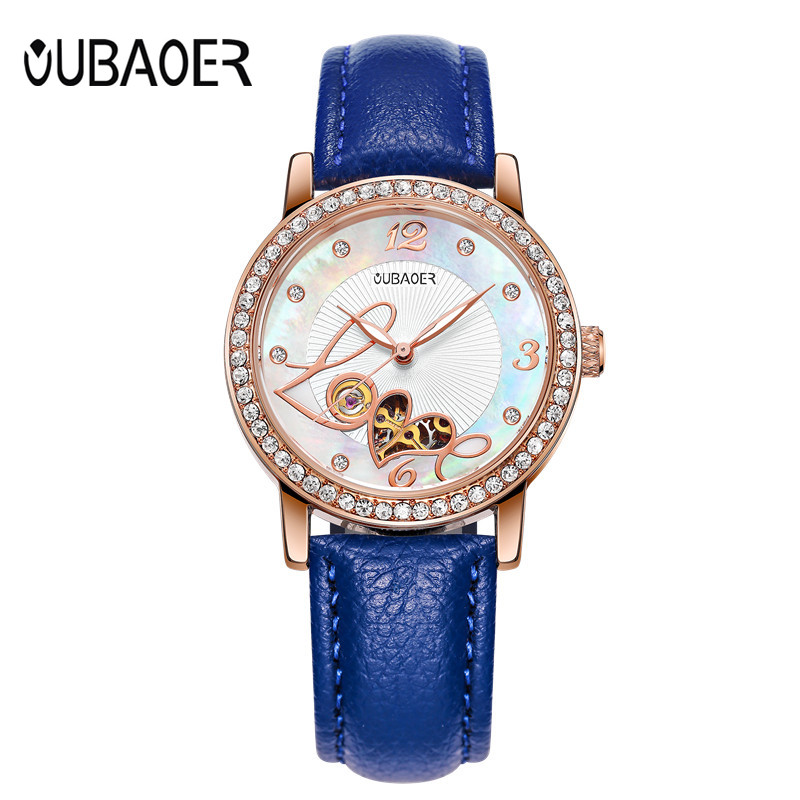 OUBAOER Watch women Fashion hot Automatic Self-wind Mechanical Watches Gift Leather Strap Diamonds Ladies Dress WristWatch clock mechanical watch automatic self wind skeleton female ladies wristwatch brand leather strap 2017 new fashion woman stylish lz309