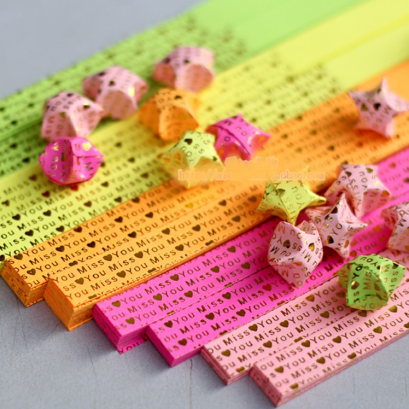 DIY Handcraft Origami Lucky Star Paper Strips Quilling Printed Miss You Mix Shinning Colors Home Wedding Decoration Craft