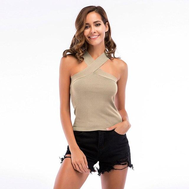Women Tshirt Sleeveless Knitted T shirt 2019 Summer T-shirt Lady Sports Elastic Shirts Backless Casual Halter Tshirt for Women 3