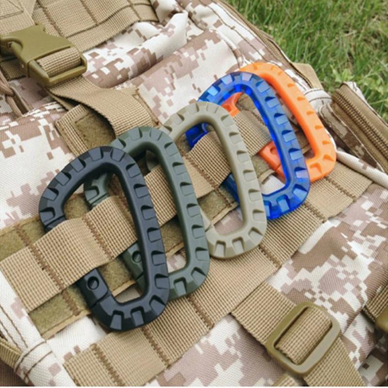 Multipurpose Carabiner D ring Locking Tactical Keychain Backpack Buckle Outdoor Bag Camping Climbing Accessories in Outdoor Tools from Sports Entertainment