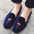 Cute Flamingo Embroidered Women Loafers Comfortable Ballerina Flats Suede Casual Flat Shoes Woman Slip On Moccasins Espadrilles