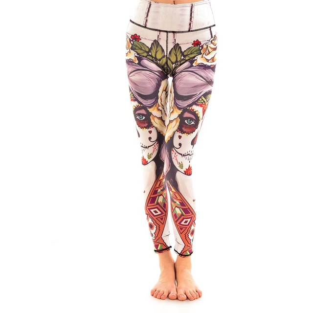 86ebe298a34 New Floral Funny Face Cotton Elastic Womens Sport Leggings S To 4xl Plus  Size Fitness Running
