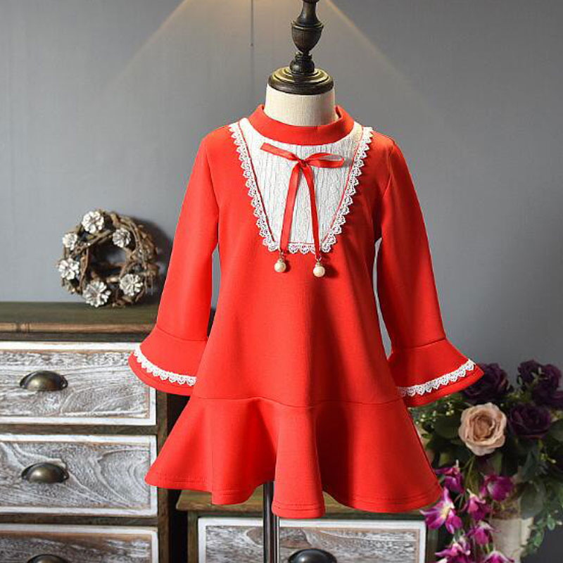 ECTIC New 2018 Dress For Girl Bow Tie Horn Sleeve Childrens Long Sleeve Dress Childrens Cothing For Girls Summer Dress ...