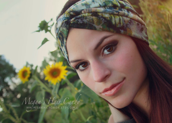 2015 tela elstica impresin flores para el pelo bandas para la cabeza bandas mujeres nudo trenzado turbante headband scrunchy envuelve la venda headwrap en - Diademas De Tela