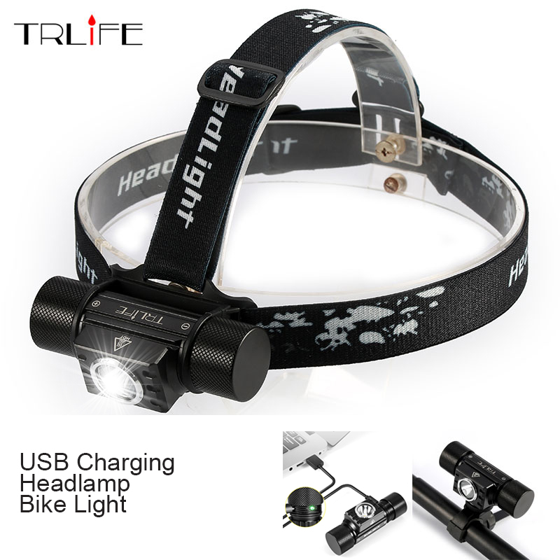 USB LED Headlamp Waterproof Bike Bicycle Light Rechargeable Headlight Hand-Free Head Camping Lamp With Smart Power Reminder