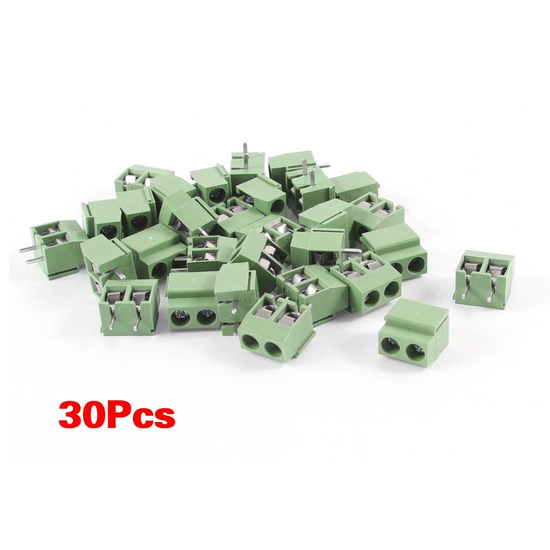 hot 30Pcs 2 Pole 5mm Pitch PCB Mount Screw Terminal Block 8A 250V