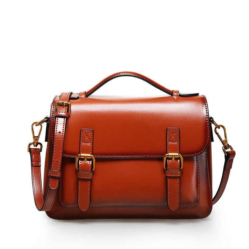 Fashion Brand Design Oil Genuine Leather Women s Handbag Retro Female Shoulder Crossbody Bags Student Satchel