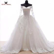 Wedding Dresses Ball Gown Fluffy Skirt Long Sleeve Lace Tulle Luxury Vestidos De Noiva Wedding Gown