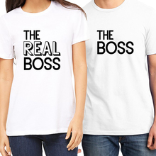 summer couple t shirt the boss vs real letter print short sleeve lovely white tee tops modal tshirt