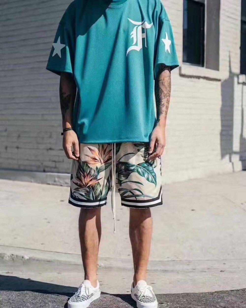 Men T-Shirt Mesh FOG Oversized Justin Bieber Letters Blue Tee Embroidery S-XL Hip-Hop