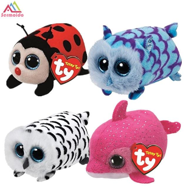 d47fc9670a4 sermoido Beanie Boo Teeny tys Pink Dolphin Trixy - Lady 9cm Ty Beanie Boos  Big Eyes Plush Toy Doll Owl Baby Kids Gift