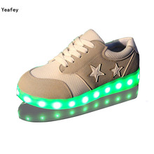 Yeafey Luminous Sneakers for Girls Boys Children Shoes with Light White Star Glowing Womens Fashion Sneakers Usb Led Shoes Kids