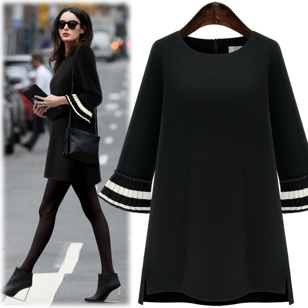Flare sleeve black dresses woman Europe new round neck 3 qualters sleeve loose dresses fashion Women's large size dress 2016