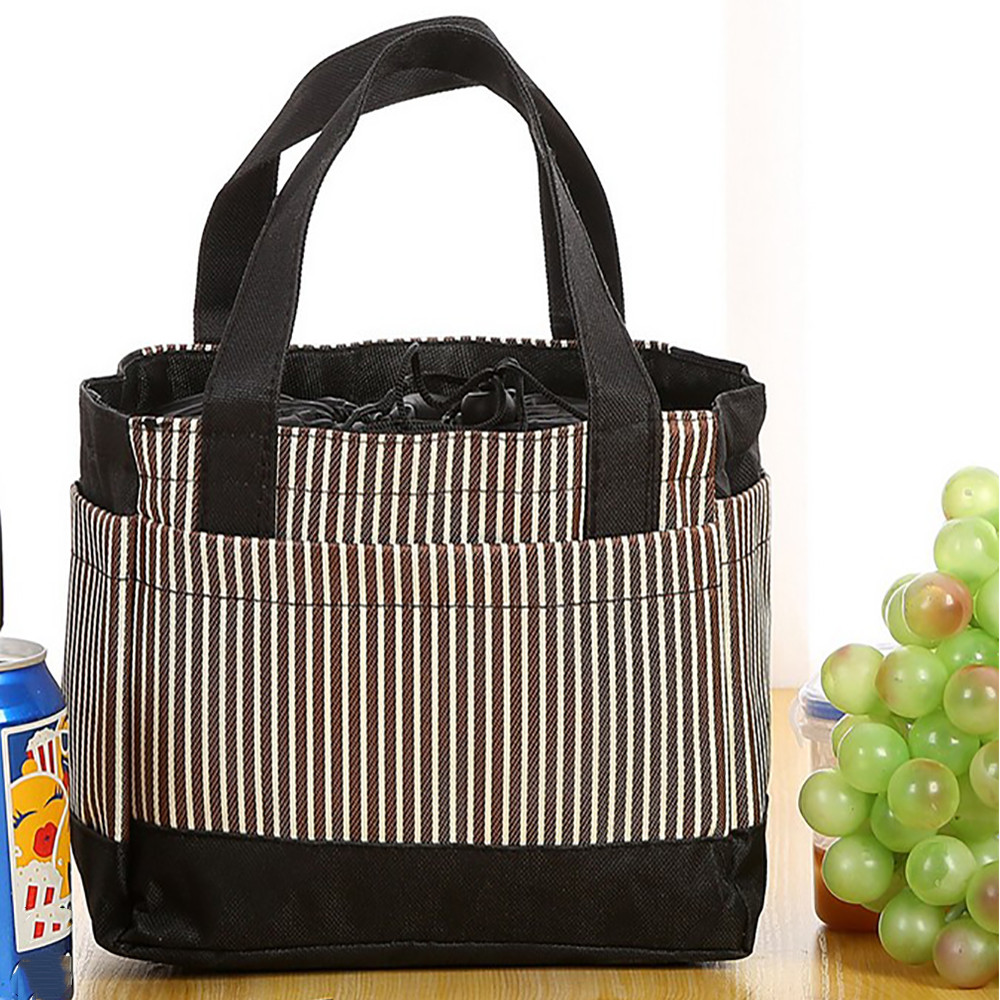 Insulated Cold Stripe Pattern Printing Picnic Carry Case Thermal Portable font b Lunch b font font