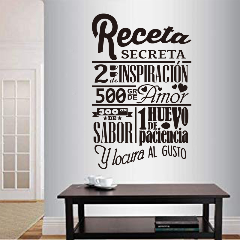 Autocollant espagnol Secret recette décoration murale cuisine vinyle Sticker Mural décor à la maison affiche famille Sticker Mural Art Mural GW009B