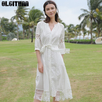 White Cotton Lace Embroidery Boho Dress 2019 New Spring Vintage Lantern Sleeve Dresses Casual Loose Brand Long Femme DR918