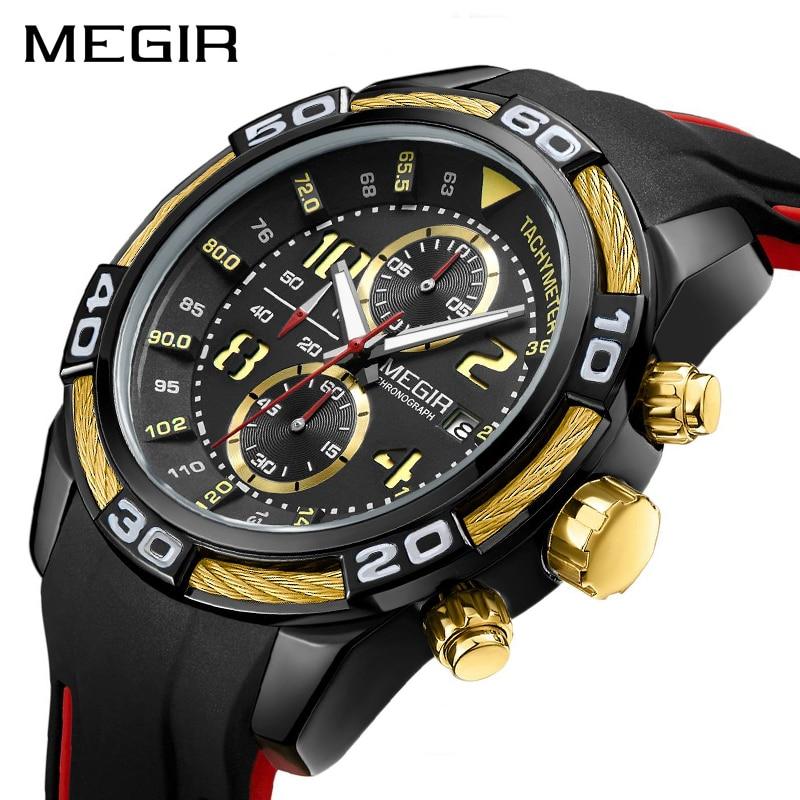 MEGIR Chronograph Sport Men Watch Creative Silicone Army Military Wrist Watches Clock Men Relogio Masculino Quartz Watch Hour цена и фото
