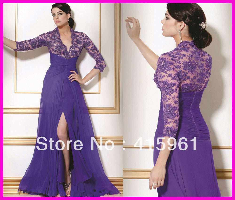 <font><b>Sexy</b></font> Purple Beaded Lace vestido de madrinha <font><b>2018</b></font> <font><b>Mother</b></font> <font><b>of</b></font> <font><b>the</b></font> <font><b>Bride</b></font> Evening Dresses With Long Sleeves image