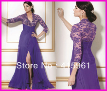 Sexy Purple Beaded Lace Mother of the Bride Evening Dresses With Long Sleeves M502