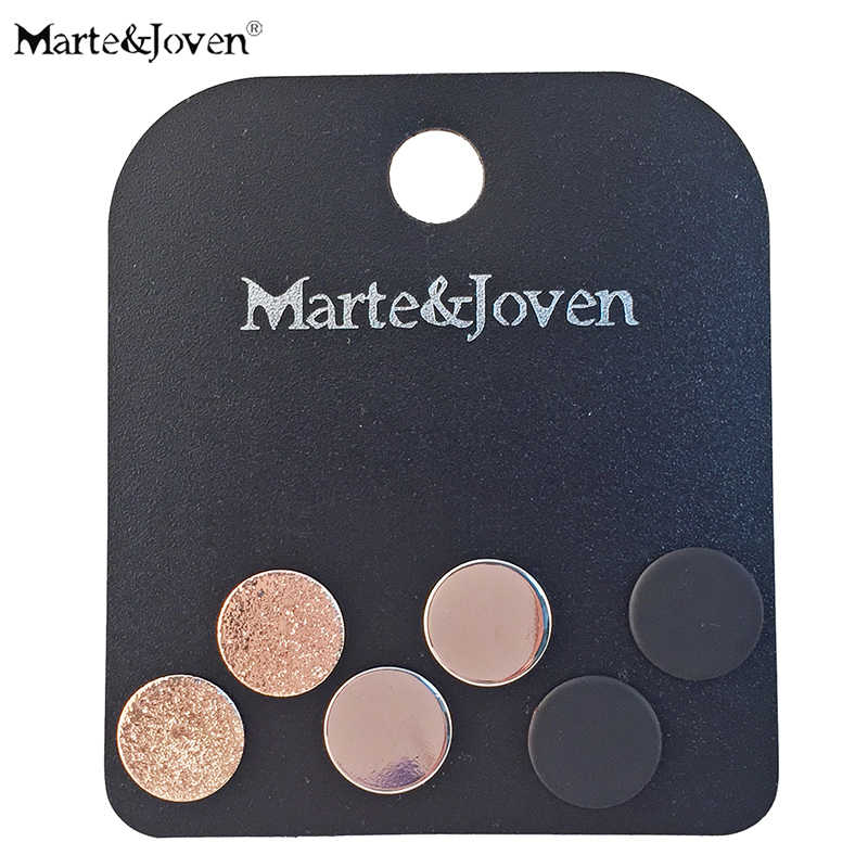 Marte&Joven 3 Pairs/set Round Stud Earrings Set for Women Fashion Accessories Matte Black and Gold Color Circle Studs Sets Girl
