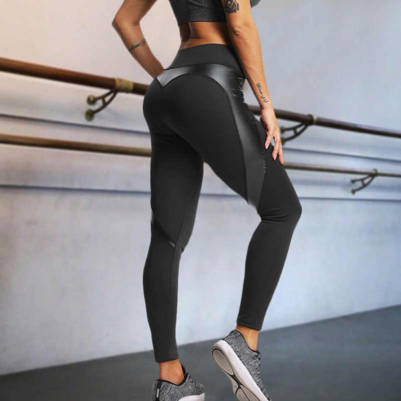 e2adbf3a5abd1 ... Black Faux Leather heart Leggings Sexy Women High Waist Fitness Leggins Push  Up Female Gyms Workout