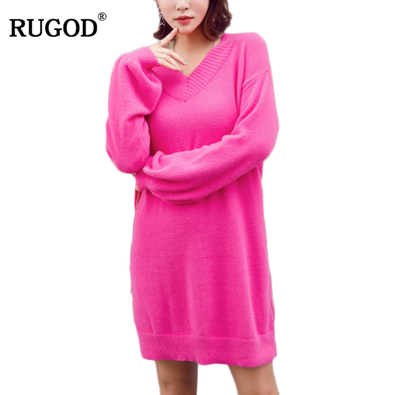 RUGOD 2018 winter Women Sweater Dress Spring sexy Fashion v neck Basic mini solid casual loose Knitted Dress Pullover