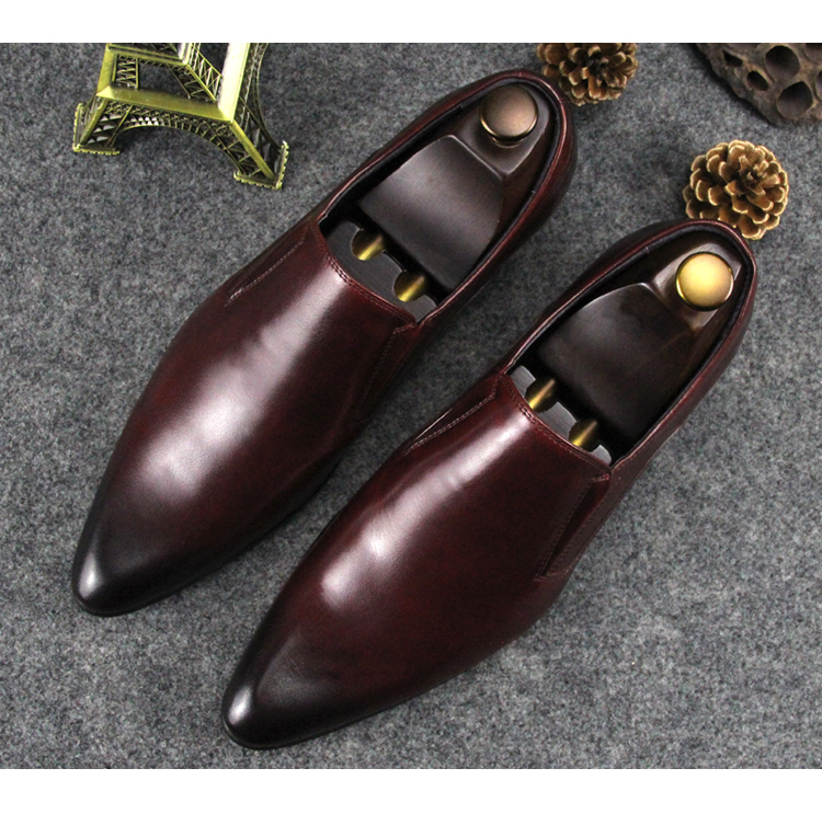 Retro Man Business Formal Tuxedo Dinner Oxfords Shoes Slip On Male Wedding Barque Prom Fashion Dress Pointed Toe Oxfords Man ch kwok crocodile leather mens dress wedding oxfords slip on male business suits tuxedo oxfords spring autumn man derby shoes